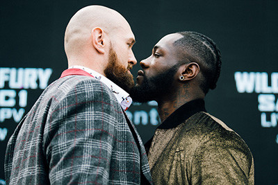 Deontay Wilder faces off against Tyson fury NY.