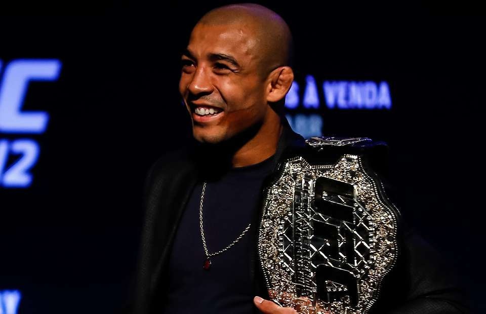 Jose Aaldo with the featherweight belt before losing to Conor McGregor.