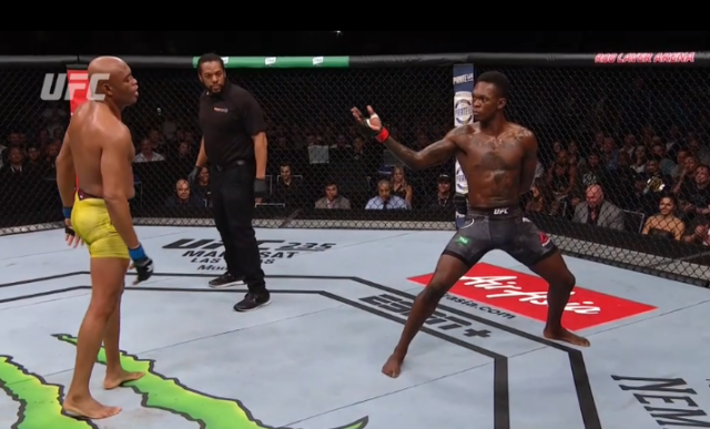 Israel Adesanya and Anderson Silva face off inside the UFC octagon.