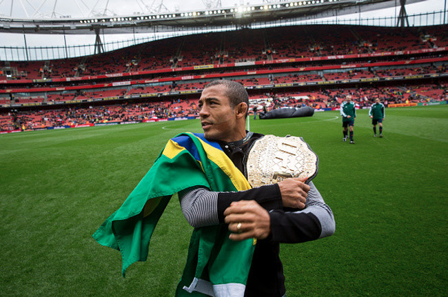 Jose Aldo in Brazilian soccer stadium.