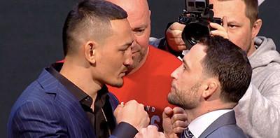 Max holloway vs Frankie Edgar faceoff pre fight.