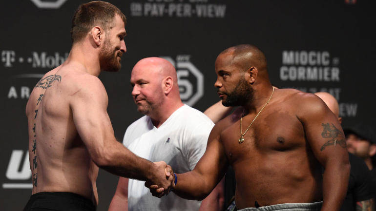 Stipe miocic and Daniel cormier face off.