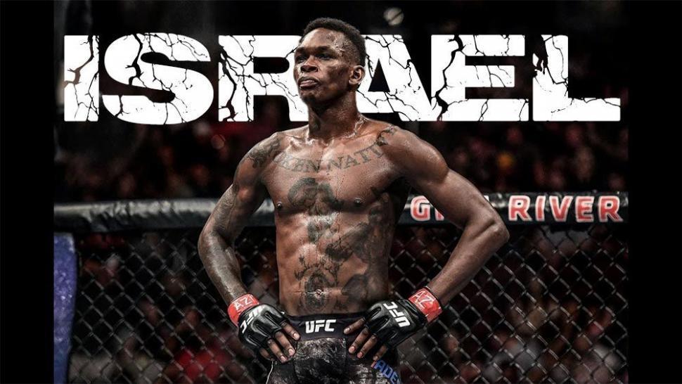 Israel Adesanya inside the UFC octagon.