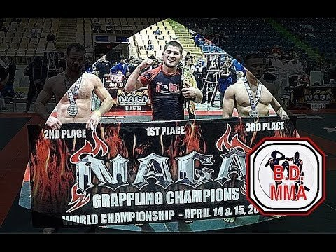Khabib Nurmagomedov on podium at NAGA 2012.