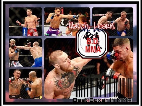 Boxing in MMA inside the cage.