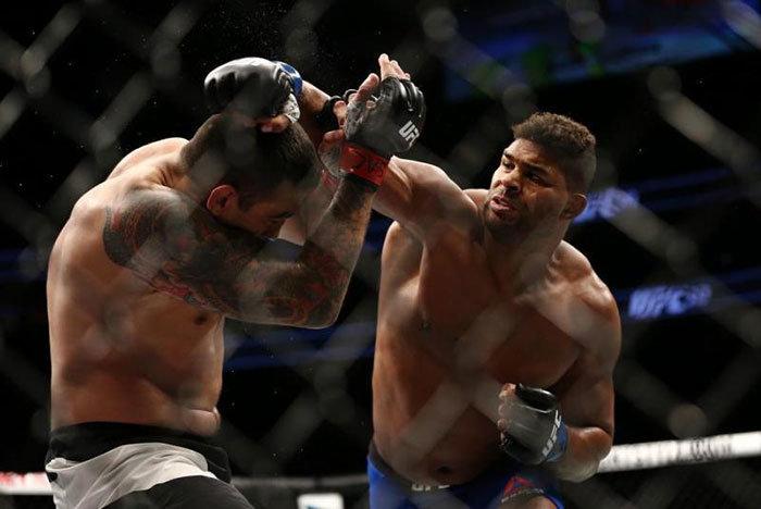 Alistair Overeem punches Fabricio Werdum in the UFC.