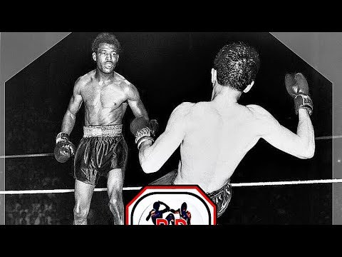 Sugar Ray Robinson boxing in the ring.