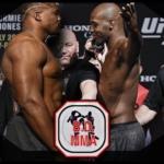 Jon Jones vs Francis Ngannou UFC weigh in face off.