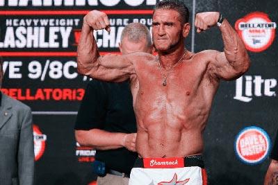 Ken Shamrock At Bellator Weigh-Ins Before Failing A Drugs Test.