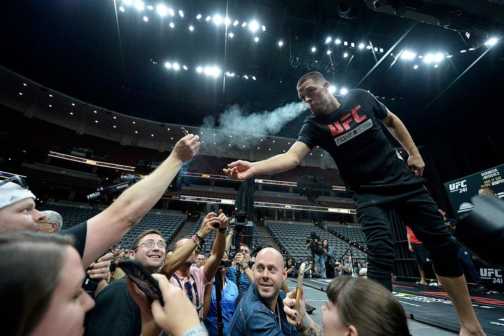 Nate Diaz smoking marijuana UFC events workouts.
