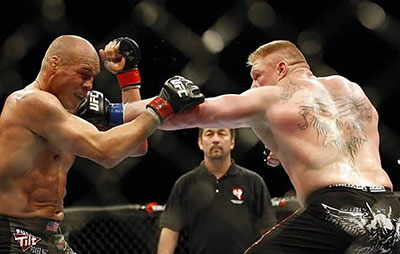 Champion Randy Couture and challenger Brock Lesnar at UFC 91.