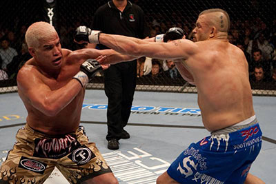 Chuck Liddell and Tito Ortiz going toe to toe UFC 66.