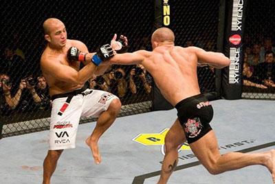 Georges St Pierre landing a superman punch on BJ Penn UFC 94.