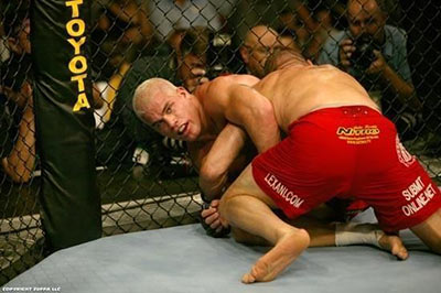 Tito Ortiz and the ground against Randy Couture at UFC 44.
