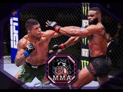 Gilbert burns vs Tyron Woodley in the UFC octagon.