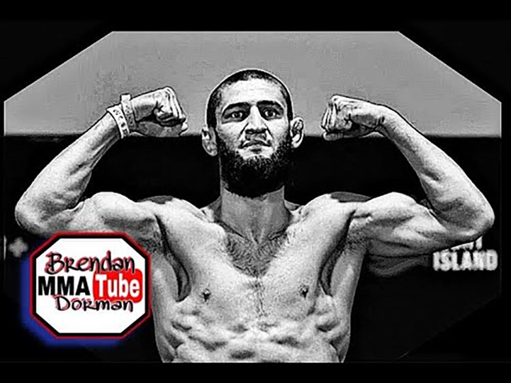 Khamzat Chimaev weighing in for his UFC fight.