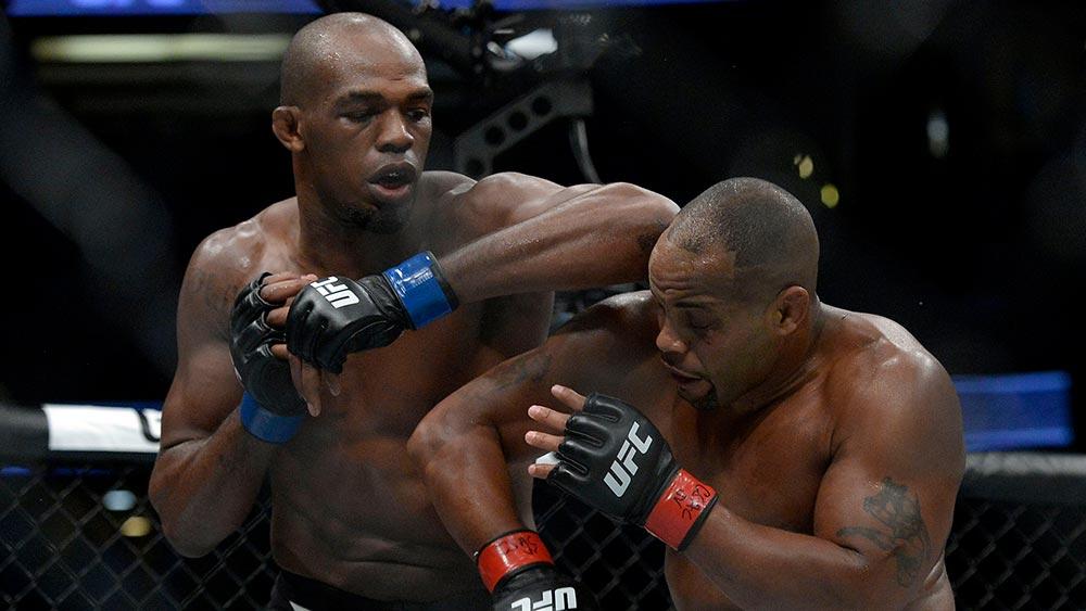 Jon Jones lands an elbow on Daniel Cormier UFC 214.
